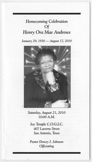 [Funeral Program for Henry Ora Mae Andrews, August 21, 2010]