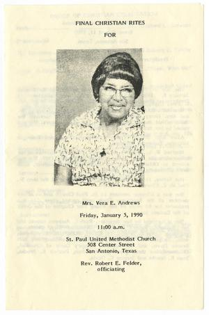 Primary view of object titled '[Funeral Program for Vera E. Andrews, January 5, 1990]'.
