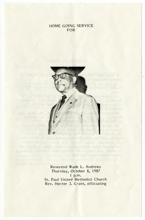 Primary view of object titled '[Funeral Program for Wade L. Andrews, October 8, 1987]'.