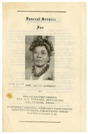 Primary view of object titled '[Funeral Program for Betty Anthony, February 14, 1973]'.