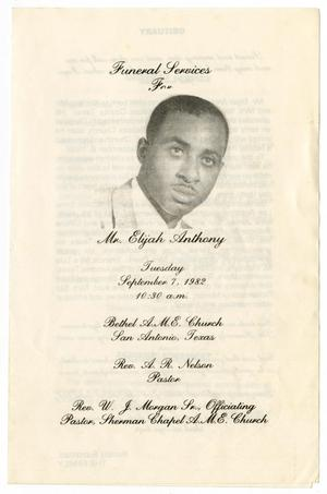 Primary view of object titled '[Funeral Program for Mr. Elijah Anthony, September 7, 1982]'.