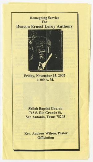 Primary view of object titled '[Funeral Program for Ernest Leroy Anthony, November 15, 2002]'.