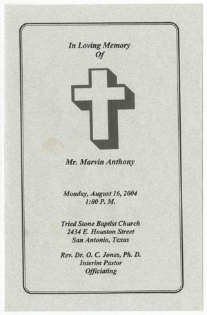 Primary view of object titled '[Funeral Program for Marvin Anthony, August 16, 2004]'.