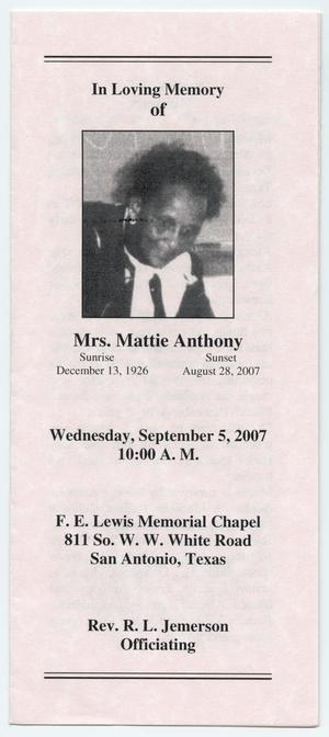 Primary view of object titled '[Funeral Program for Mattie Anthony, September 5, 2007]'.