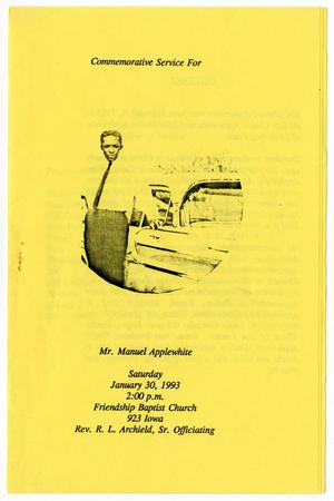 Primary view of object titled '[Funeral Program for Manuel Applewhite, January 30, 1993]'.