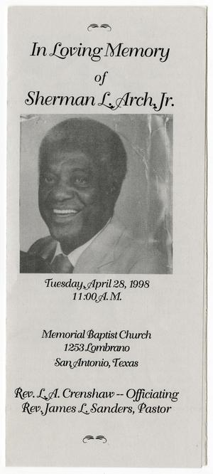 Primary view of object titled '[Funeral Program for Sherman L. Arch, Jr., April 28, 1998]'.