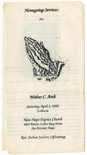 Primary view of object titled '[Funeral Program for Walter C. Arch, April 3, 1993]'.