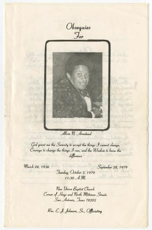 [Funeral Program for Alvon N. Armstead, October 2, 1979]