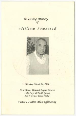 Primary view of object titled '[Funeral Program for  William Armstead, March 26, 2001]'.