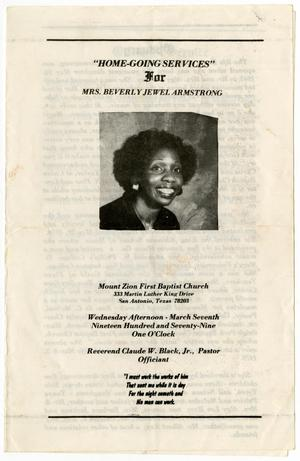 Primary view of object titled '[Funeral Program for Beverly Jewel Armstrong, March 7, 1979]'.