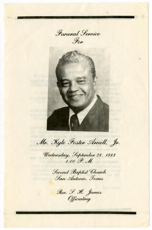 Primary view of object titled '[Funeral Program for Kyle Foster Arnell, Jr., September 28, 1983]'.
