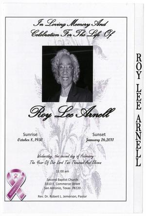 [Funeral Program for Roy Lee Arnell, February 2, 2011]