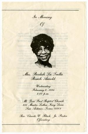 Primary view of object titled '[Funeral Program for Beulah La Trella Arnold, February 8, 1984]'.