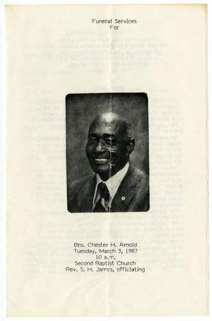 Primary view of object titled '[Funeral Program for Chester H. Arnold, March 3, 1987]'.