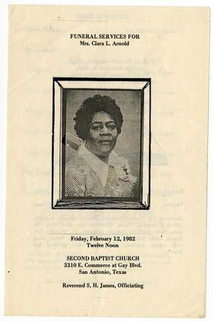 Primary view of object titled '[Funeral Program for Clara L. Arnold, February 12, 1982]'.