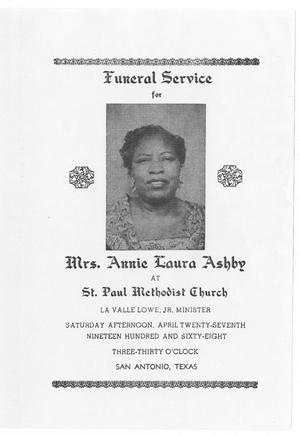 Primary view of object titled '[Funeral Program for Annie Laura Ashby, April 27, 1968]'.