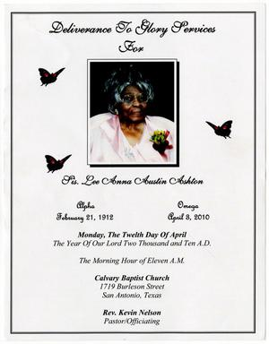 Primary view of object titled '[Funeral Program for Lee Anna Ashton, April 12, 2010]'.