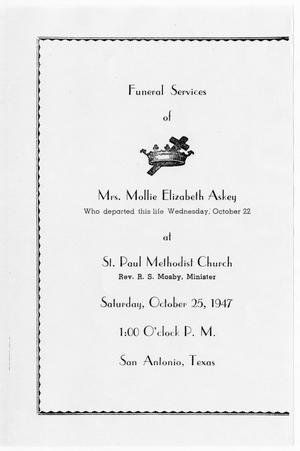 Primary view of object titled '[Funeral Program for Mollie Elizabeth Askey, October 25, 1947]'.