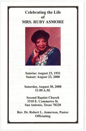 Primary view of object titled '[Funeral Program for Mrs. Ruby Asmore, August 30, 2008]'.