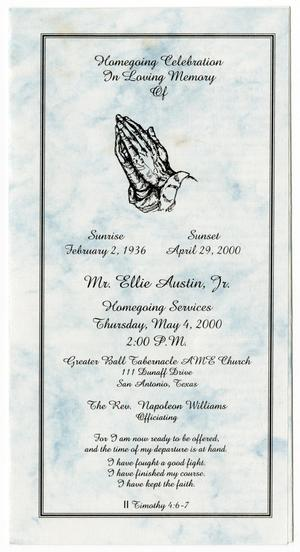Primary view of object titled '[Funeral Program for Ellie Austin, Jr., May 4, 2000]'.