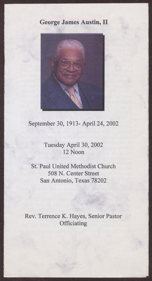 Primary view of object titled '[Funeral Program for George Austin, II, April 30, 2002]'.