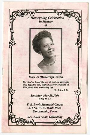 Primary view of object titled '[Funeral Program for Mary Jo Austin, May 29, 2004]'.