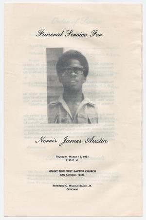 Primary view of object titled '[Funeral Program for Norris James Austin, March 12, 1981]'.