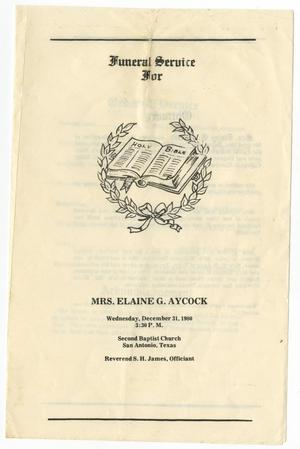 Primary view of object titled '[Funeral Program for Elaine G. Aycock, December 31, 1980]'.
