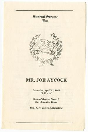 Primary view of object titled '[Funeral Program for Joe Aycock, April 12, 1980]'.