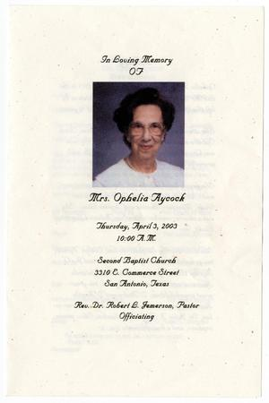 Primary view of object titled '[Funeral Program for Ophelia Aycock, April 3, 2003]'.