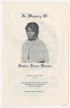 Primary view of object titled '[Funeral Program for Irene Bacon, April 20, 1981]'.