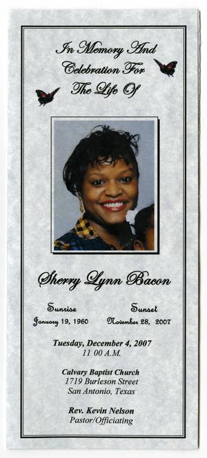 Primary view of object titled '[Funeral Program for Sherry Lynn Bacon, December 4, 2007]'.