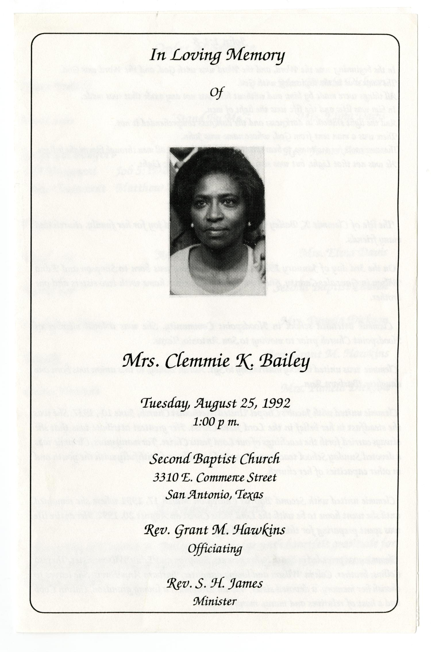 [Funeral Program for Clemmie K. Bailey, August 25, 1992]                                                                                                      [Sequence #]: 1 of 3