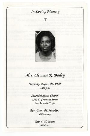 Primary view of object titled '[Funeral Program for Clemmie K. Bailey, August 25, 1992]'.
