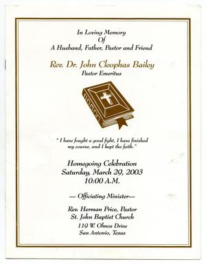 Primary view of object titled '[Funeral Program for John Cleophas Bailey, March 29, 2003]'.