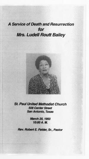 Primary view of object titled '[Funeral Program for Ludell Routt Bailey, March 20, 1993]'.