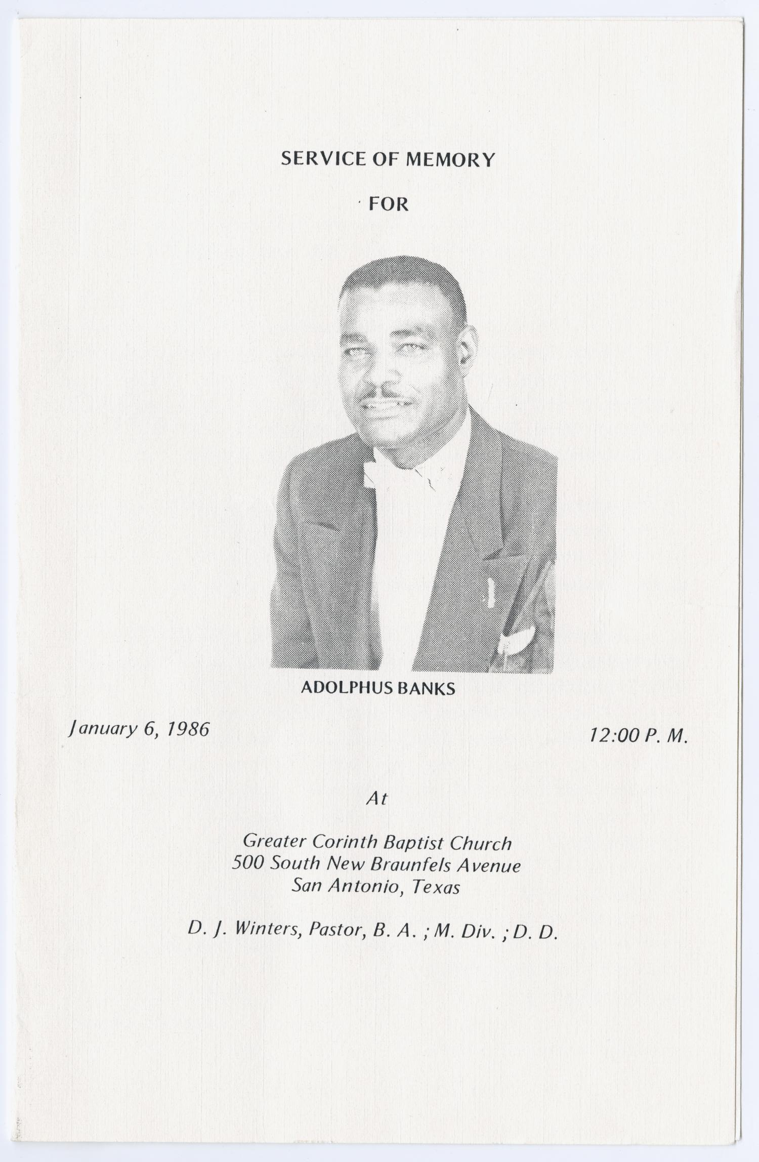 [Funeral Program for Adolphus Banks, January 6, 1986]                                                                                                      [Sequence #]: 1 of 3