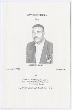 Primary view of object titled '[Funeral Program for Adolphus Banks, January 6, 1986]'.