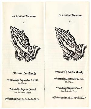 Primary view of object titled '[Funeral Program for Howard Charles Banks and Vernon Lee Banks, September 1, 1993]'.