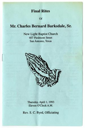 [Funeral Program for Charles Bernard Barksdale, Sr., April 1, 1993]