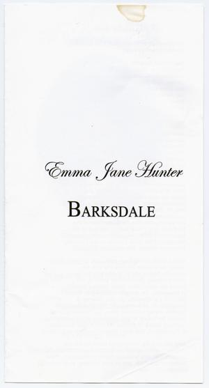 Primary view of object titled '[Funeral Program for Emma Jane Hunter Barksdale, November 24, 2010]'.