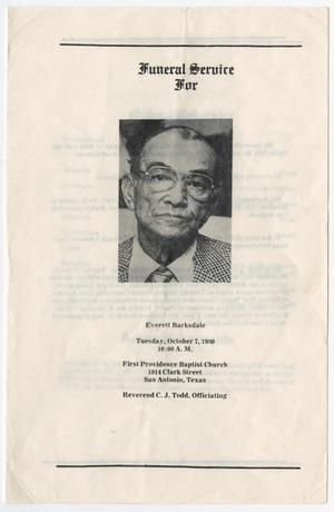 Primary view of object titled '[Funeral Program for Everett Barksdale, October 7, 1980]'.
