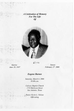 Primary view of object titled '[Funeral Program for Eugene Barnes, March 4, 2006]'.