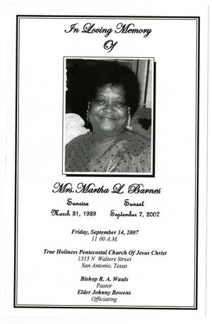 Primary view of object titled '[Funeral Program for Martha L. Barnes, September 14, 2007]'.