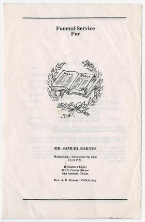Primary view of object titled '[Funeral Program for Samuel Barnes, November 26, 1980]'.