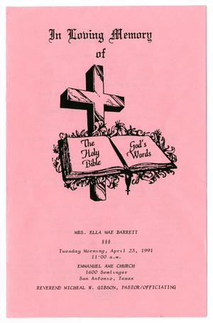 Primary view of object titled '[Funeral Program for Ella Mae Barrett, April 23, 1991]'.