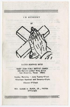 Primary view of object titled '[Funeral Program for Beatrice Bates, June 26, 1978]'.