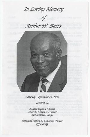 Primary view of object titled '[Funeral Program for Arthur W. Batts, September 14, 1996]'.