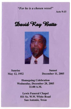 Primary view of object titled '[Funeral Program for David Ray Batts, December 28, 2005]'.