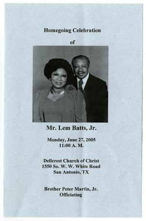 Primary view of object titled '[Funeral Program for Lem Batts, Jr., June 27, 2005]'.